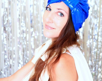 Hair Turban with Bow in Royal Blue Metallic - Women's Fashion Head Wrap - Sparkly Turbans