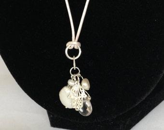 Necklace-Pearl, Rock Cystal & Sterling Silver Hamsa Pendants