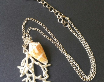 Cone Seashell and Silver Coral Necklace