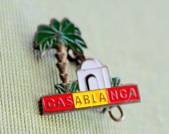 CASABLANCA Pin Back Brooch Tourist Pin Button Badge Enameled
