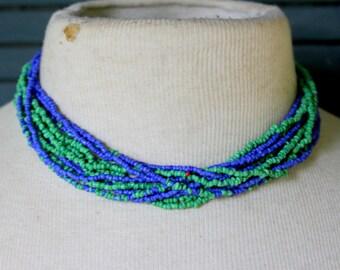 Vintage Necklace Blue Green Statement Multi Strand