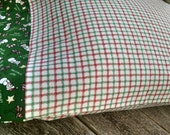 Plaid Snowman Holiday Pillowcase Christmas Flannel cotton standard pillowcase Holiday cotton bedding handmade in USA Christmas room decor