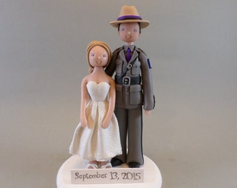 Personalized State Trooper Wedding Cake Topper