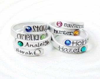 Birthstone Wrap Rings - Mother's Ring - Personalized Hand Stamped Rings - Stackable Adjustable Aluminum Ring