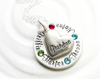 Grandma Birthstone Necklace - Mother's Heart Necklace - Personalized Jewelry - Hand Stamped Necklace - Gift for Her - Mother's Jewelry