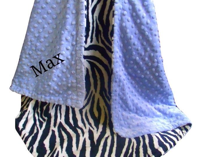 Blue Zebra Minky Baby Blanket - Black and White Zebra Print Baby Blanket, Blue Minky Dot - three sizes, Can Be Personalized