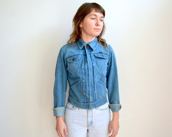 Vintage 1970's Wrangler Denim Jacket/ Talon Zip Up Pleated Front/Blue Bell XS S