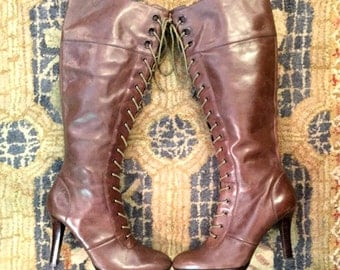 Vintage Tan Boots Light Brown Boots Knee-High Boots Lace-Up Boots High Heel Boots Leather Boots by Nine West Size 9 Womens Boots