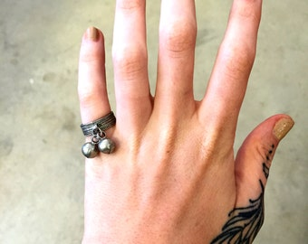 Vintage Ring Silver Ring Wide Band Patterned Band  2 Jingle Bells Belly Dancer Jewelry Size 6 Ring Retro Costume Jewelry Boho