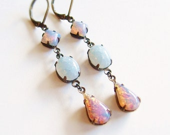 Victorian Opal Earrings Vintage Harlequin Fire Opal Dangle Earrings Glass Antiqued Brass Pink Opal Jewelry Bridesmaid Gifts For Her