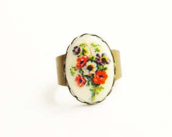 Flower Poppy Cameo Ring Vintage Red Floral Cameo Ring Victorian Jewelry Poppy Jewelry Adjustable Ring