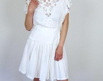 Pretty White Eyelet Lace Dress