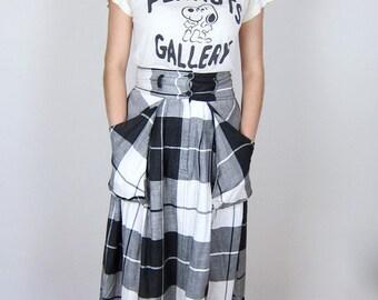 Checkered Cotton 80's Skirt