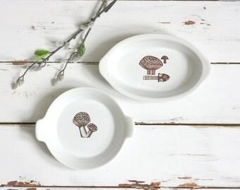 Mid Century Modern Ceramic Mushroom Dish / Vintage Finel Arabia Mushroom Dish / Mushroom Dish by Kaj Franck