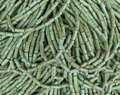 8x3mm Aged Opaque Green Turquoise Picasso Czech Glass Bugle Beads - 6 Strand Hank (AW192)