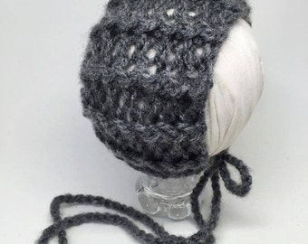Unique Zig Zag Stitch Newborn Dome Back Bonnet with Skinny Twisted Cord Ties in Lightweight Brushed Wool