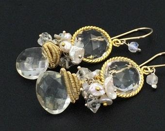 Clear Quartz Dangle Earrings Wire Wrap Coiled 14k Gold Fill Silver Mystic Quartz Gemstone Wedding Earrings Bezel Set White Earrings