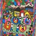 Vintage Mexican Amate Bark Paper Painting, Villagers, Village Life