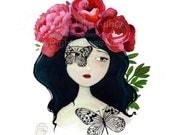 Flower Girl # 2 - Original Watercolor - Portrait - Whimsical Art - Fairytale