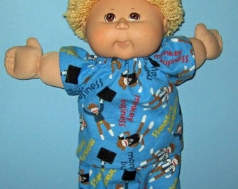 Cabbage Patch Kids, Doll Clothes, Sock Monkey Pajama Set, 16  17 Inch Doll Clothes  Boy or Girl Doll Clothes