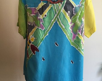 RAYON Blouse. Original. WOMEN'S Top. HANDPAINTED. Wearable Art. Turquoise. Purple. Shirt. Size Medium. One of a Kind. My Bonnie Designs