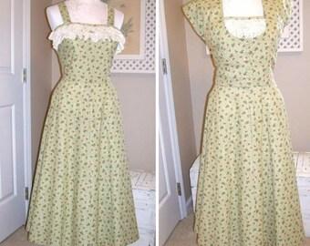 1950s Style Dress - 50s Sundress -Tea Length Dress - Green Calico Cotton Dress - 50s Cotton Dress Jacket - Eyelet Lace  Handmade USA - OOAK