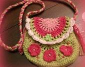 Girls Pocketbook, Crocheted Pocketbook, Hand Crochet Little Girls Purse, Girls Purse