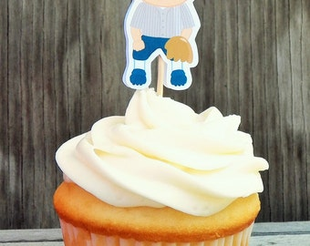 Baseball Friends Party - Set of 12 Baseball Player Cupcake Toppers by The Birthday House