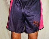 Vintage Mens Black Red Orange North Carolina Nylon Running Shorts XL
