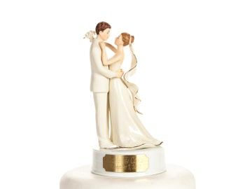 Engraveable Off White Porcelain Bride and Groom Wedding Cake Topper - Custom Painted Hair Color Available - 105040