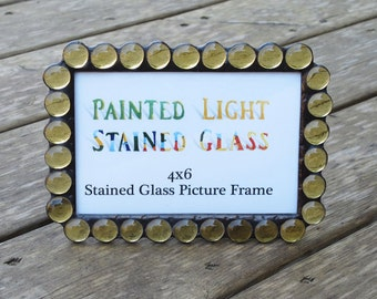 4x6 Stained Glass Picture Frame With Light Amber Glass Gems