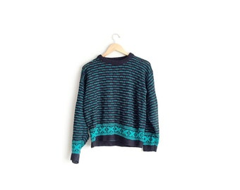 SALE // Size S/M // KNIT PATTERNED Sweater // Black & Green - Oversized Pullover - Vintage Lightweight Jumper.