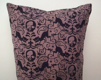 """Catnip Toy - Goth Pillow Wrestler - Skulls and Black Cats Kitty Kick Stick - Gifts for Cats and Cat Lovers- 11"""" X 4 3/4"""""""