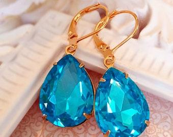 Aquamarine Earrings - Blue - March Birthstone Gift - Crystal - CAMBRIDGE Aqua