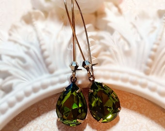 Olive Earrings - Christmas Gifts for Sister - Green Earrings - Victorian Jewelry - SOMERSET Olive