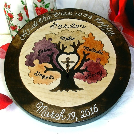 Family tree w cross unity ceremony wedding puzzle unity ceremony