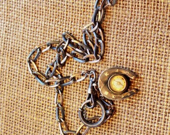 Antique Niello Watch Chain with working Compass