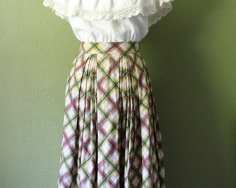 50's Bold Brushstroke Plaid Pleated Circle Skirt