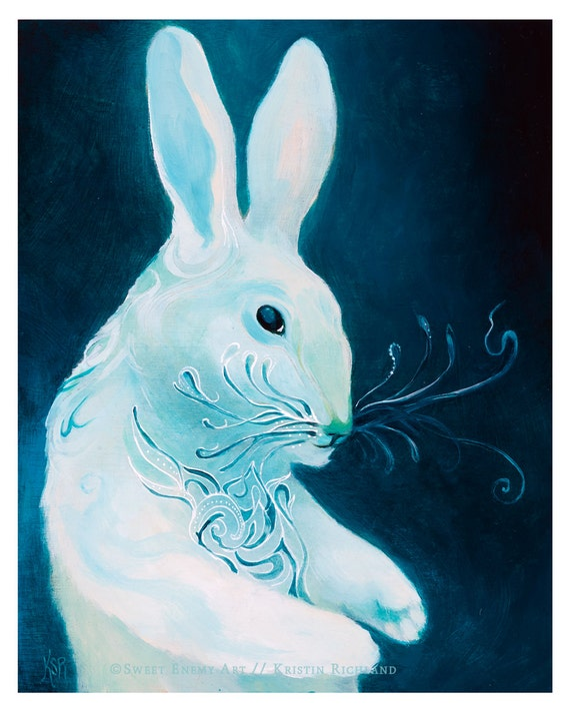 Rabbit with Fantastic Whiskers // 8x10 Art Print // Dream illustration