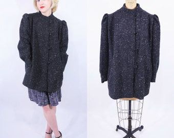 1980s tweed coat | black tweed new wave puff sleeve boxy wool jacket | vintage 80s coat