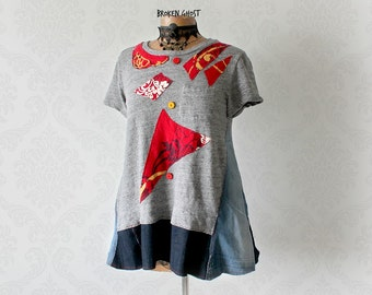 Rustic Tunic Top Patchwork Clothes Recycled Clothing Women Denim Shirt Deconstructed Tshirt Funky Festival Wear Artsy Smock Top S M 'SHANNON