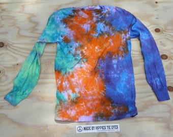 High Altitude Multicolor Scrunch Long Sleeve Tie Dye T-Shirt (Gildan Heavy Cotton Size S) (One of a Kind)
