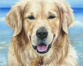 DOGUE: Golden Retriever . . . . .11x14 Fine Art Giclee Print by LARA Dog Puppy Lab