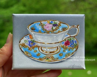 CUSTOM A Cup of Happy Mini Painting in OIL by Lara ACEO 3x4 Floral Still Life Miniature