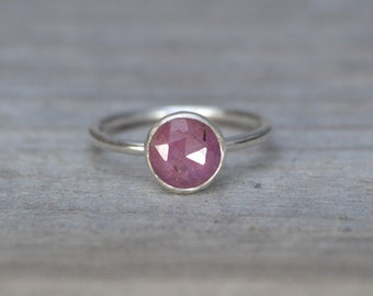 Rose Cut Pink Sapphire Ring, Over 1.8ct Sapphire Ring, September Gift, Handmade In The UK