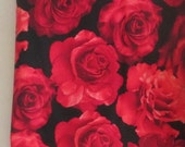 Roses Black Red Fabric - 1/2 yd - Timeless Treasures