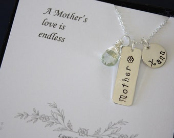 Personalized Mother Necklace, Nana Gift, Mom Necklace, Sterling Silver Gemstone Charm, Card, Christmas, Mothers day, Grandma, Bar, Rectangle
