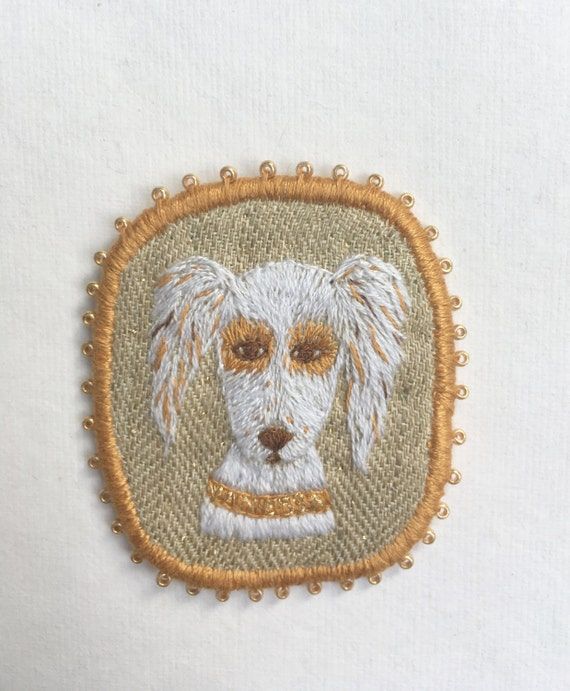 Embroidery Dog Brooch with English Setter -  Funny Dogs - collection, hand embroidered textile dog jewelry. Terrier brooch.