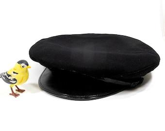 Vintage Men's Hat | Mid Century Canadian Black Wool Cap | Police Security Guard Hat | Halloween Costume Hat | 7 1/4 Small Medium | Millinery