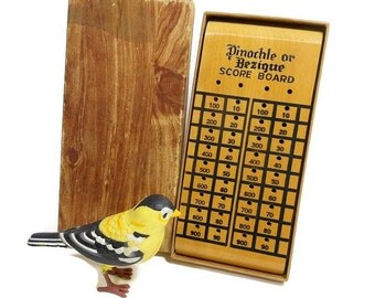 Vintage Wooden Game Board | Pinochle Score Board | Bezique Score Board | Made in USA | Wooden Pegs Game Pieces | Original Box | Gift for Him